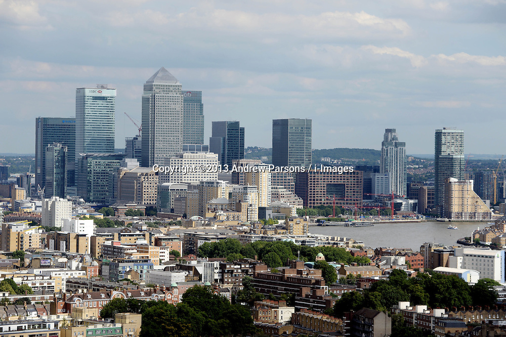 General View of Canary Wharf in the Financial District of London, United Kingdom<br /> Tuesday, 6th August 2013<br /> Picture by Andrew Parsons / i-Images