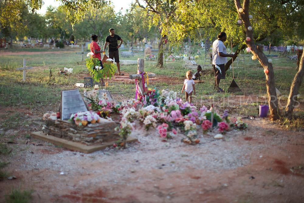 Cox family cleaning the grave of their mother and grandmother. Between 1910-1970, many Indigenous children were forcibly removed from their families as a result of various government policies. The generations of children removed under these policies became known as the Stolen Generations. Broome, WA