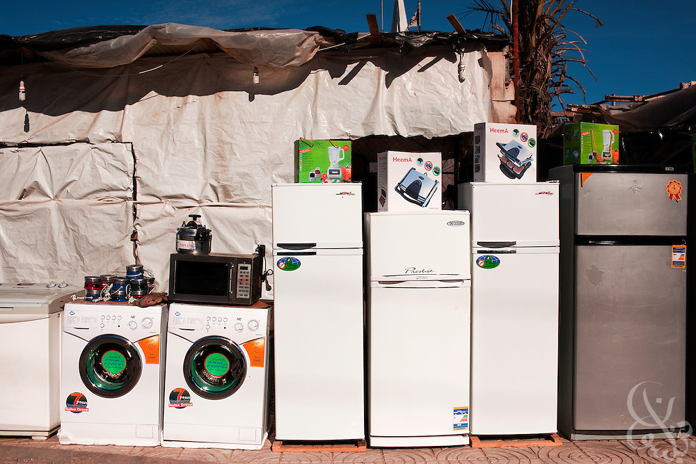 With more than a thousand smuggling tunnels running under the Gaza-Egypt border, the supply of even consumer goods is diverse and plentiful in the markets of Gaza, as seen here in a December 20, 2009 image of home appliances from Rafah, Gaza. Despite the 22 day Israeli offensive last year in Gaza, tunnels have proliferated to the point where the vast supply of goods has exceeded demand, causing prices to dramatically fall and tunnel profits to plummet.