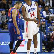 Delaware 87ers Forward Malcolm Lee (14) seen suffering from severe leg cramps in the first half of a NBA D-league regular season basketball game between the Delaware 87ers and the Westchester Knicks (New York Knicks) Sunday, Dec. 28, 2014 at The Bob Carpenter Sports Convocation Center in Newark, DEL
