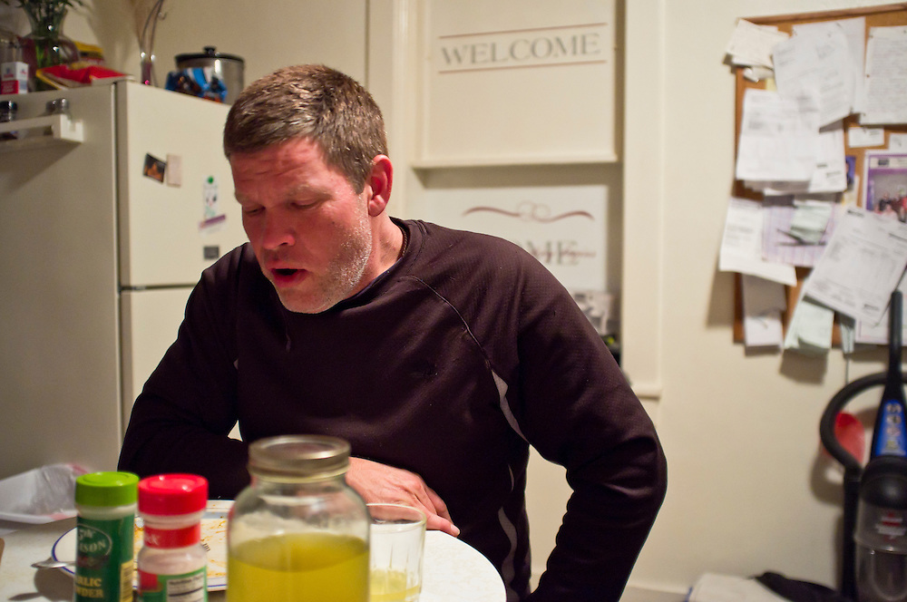 Steve McFarland sits in his kitchen on Tuesday, December 6, 2011 in Webster City, IA.