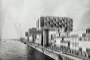 Monochrome texturized photograph of crane houses at Rheinauhafen / Cologne