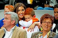 AMSTERDAM - Yolanthe Sneijder-Cabau met de zoon van Wesley Sneijder  tijdens Nederland  tegen Wales .Het Nederlands elftal tijdens de oefeninterland tegen Wales in de Amsterdam Arena. COPYRIGHT ROBIN UTRECHT COPYRIGHT ROBIN UTRECHT