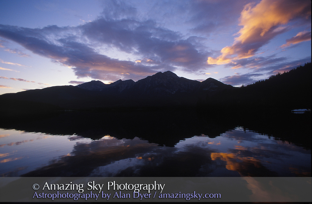 Sunset over Pyramid Lake and Pyramid Mountain, Jasper National Park, Alberta, August 1997.<br /> <br /> 28mm lens, Ektachrome 100 slide film