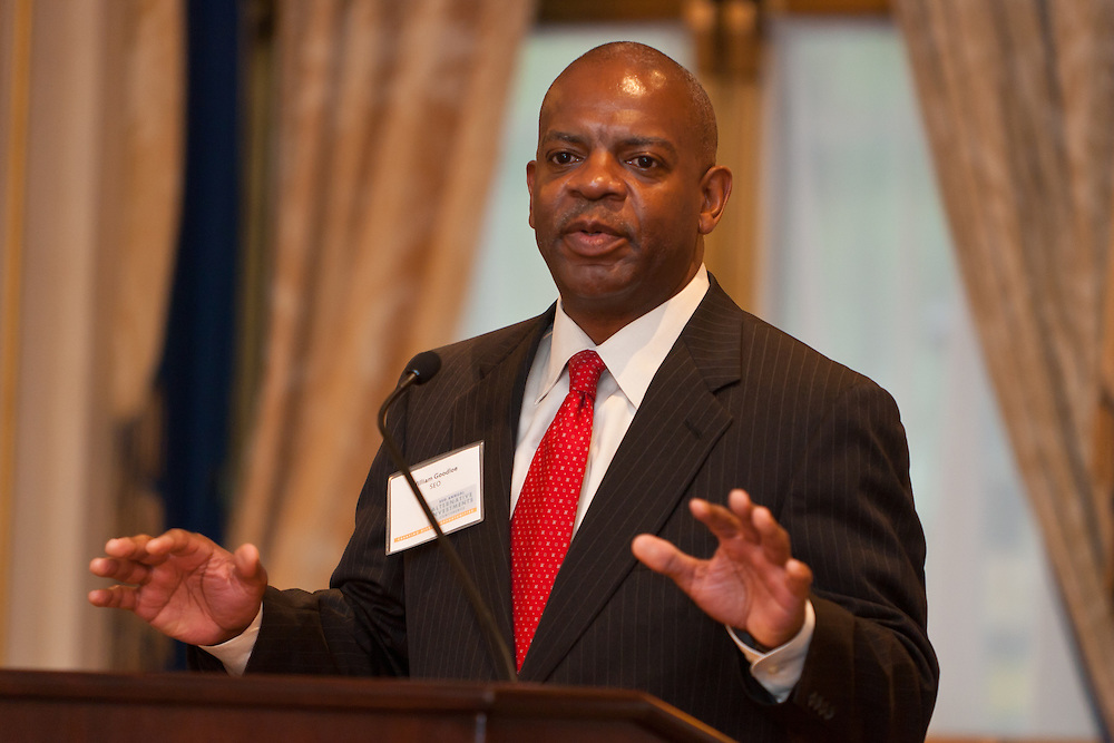 William A. Goodloe, President & CEO of SEO welcomes guest at the SEO 2nd Annual Alternative Investment Conference held May 17, 2011 at the Essex House Hotel in New York. Organized by Sponsors for Educational Opportunity (SEO), the conference is part of SEO's Alternative Investments Program, which includes the Alternative Investment Fellowship Program (AIFP), an initiative launched in 2009.  The AIFP is an educational program for young professionals from backgrounds traditionally underrepresented in the alternative investments industry.  The AIFP combines workshops, training and mentoring to strengthen Fellows as candidates for positions in private equity and other alternative investments.  The program also improves Fellows' skills as analysts by exploring strategic decisions involved in transactions from the client's point of view.