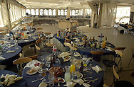 Wedding hall collapse-A view of the wedding hall on the The top floor of the collapsed building is seen, in Jerusalem Saturday, May 26, 2001. At least 24 people were killed and more than 300 injured when the three-story banquet hall caved in Thursday night as hundreds were celebrating a wedding.