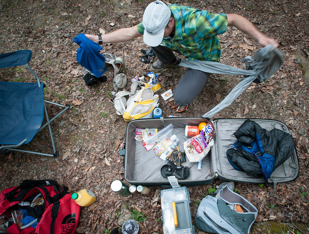 Crewing out of a suitcase during the Barkley Marathons.