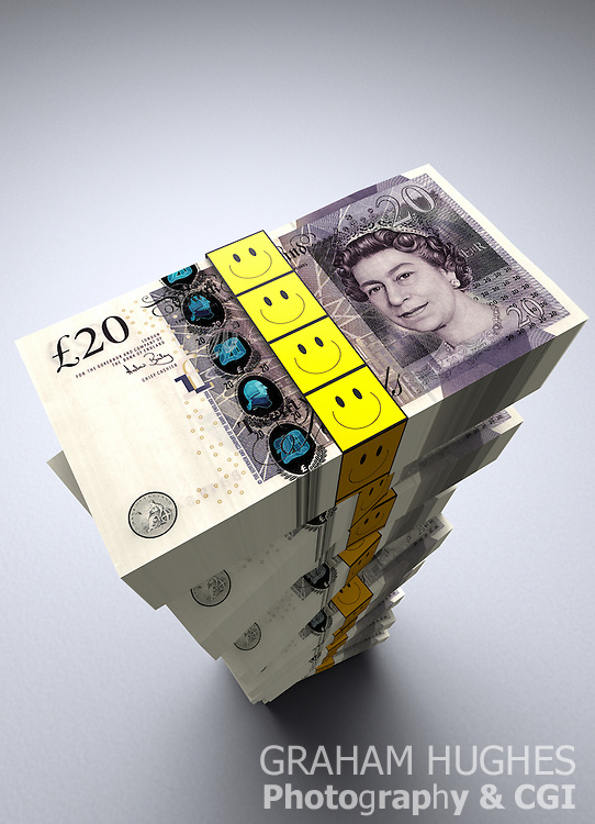 Large stack of £20 pound British bank notes with smiley faces on money ties.