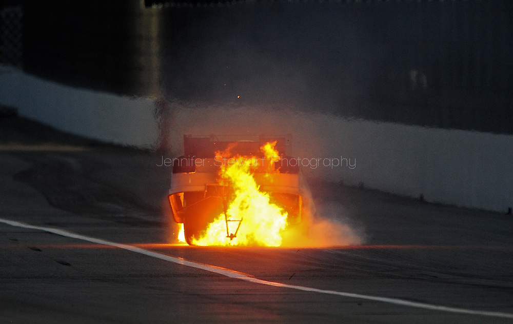 Feb. 13, 2010; Pomona, CA, USA; NHRA funny car driver Terry Haddock after his engine exploded during qualifying at the Kragen O'Reilly Winternationals at Auto Club Raceway. Mandatory Credit: Jennifer Stewart-US PRESSWIRE