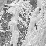Brian Smoot and Nathan Smith climbing Murchison Falls, Jasper Natiional Park, Alberta Canada