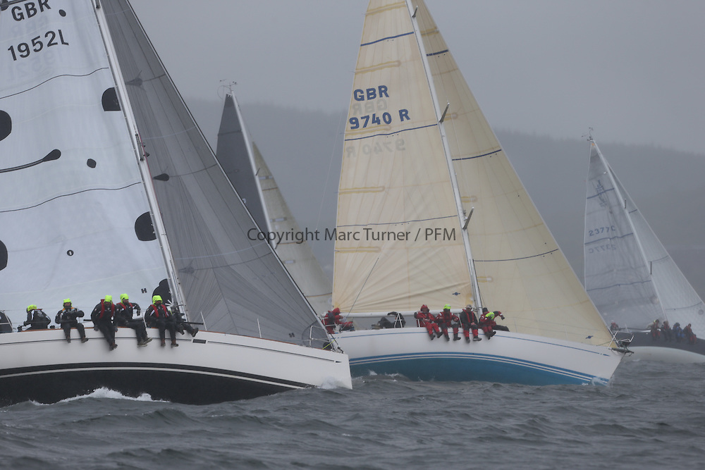 The Clyde Cruising Club's Scottish Series held on Loch Fyne by Tarbert. <br /> Day 4 Racing with a wet Southerly to start clearing up for the last race.<br /> <br /> GBR1952L ,Animal ,Debbie Aitken ,CCC/RNCYC ,Elan 380