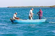 Fishermen setting nets in Cayos Ana Maria, Ciego de Avila, Cuba.
