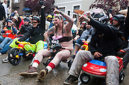 Bring Your Own Big Wheel (BYOBW) event participants on Vermont Street in San Francisco, California