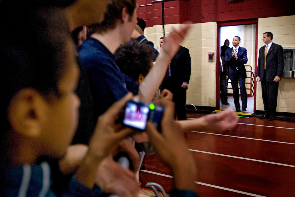 Barack Obama  at a rally in Derry, New Hampshire, prior to the New Hampshire primaries.Photographer Chris Maluszynski /MOMENT