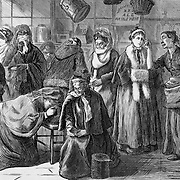 """Vintage Illustration: """"You Shust Git Out"""" said Mrs. Klein, of Klein's Confectionery and Toy Store (a saloon) Confronting the praying women (led by Mrs. Col. Lowe) protesting the sale of liquor in her store. Woman's crusade against intemperance later known as The  Woman's Christian Temperance Union (WCTU).  The scene is illustrated by Mrs. C. S. Reinhart of the events in Xenia, Ohio.  social movements, health, substance abuse, sobriety, bars   Harper's Weekly 1874"""