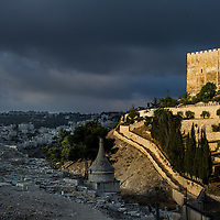 Late day light illuminates the  old city of Jerusalem in Israel.