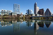 The view of downtown Austin from Lady Bird Lake, formerly known as Town Lake