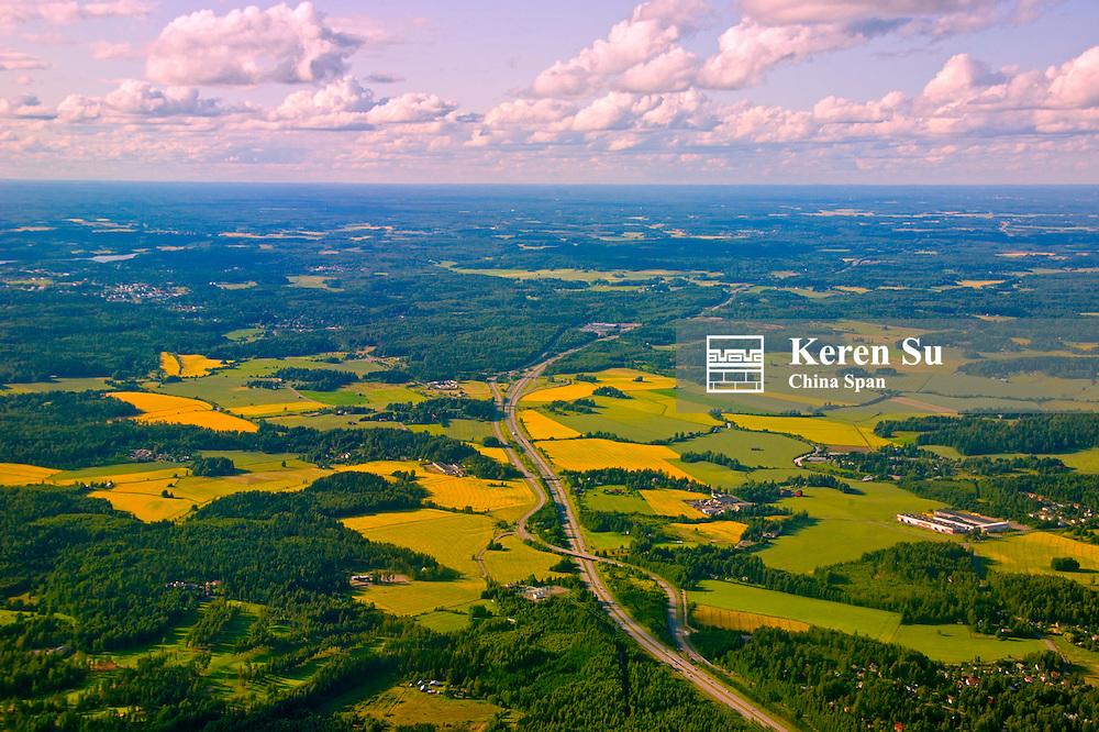 Aerial view of farmland,  Finland
