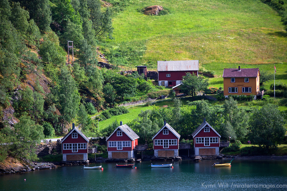 Europe, Norway, Flam. Boathouses of Flam.