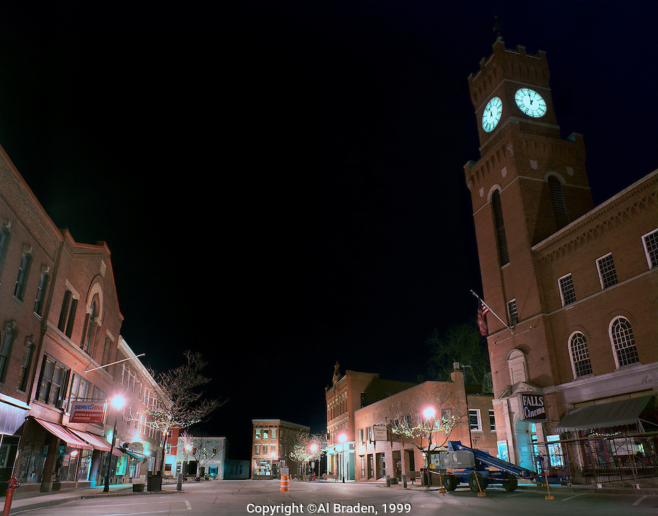 Late night downtown Bellows Falls, VT