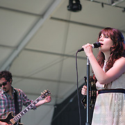 She & Him featuring Zooey Deschanel (vocals, piano, banjo) and M. Ward (guitar) performs during the second day of the 2010 Bonnaroo Music & Arts Festival on June 10, 2010 in Manchester, Tennessee. The four-day music festival features a variety of musical acts, arts and comedians..Photo by Bryan Rinnert/3Sight Photography