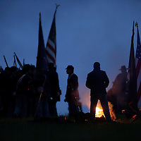 Union soldiers gather before marching to a sunrise reenactment of Donelson's Attack, part of a weekend of events commemorating the 150th anniversary of the Battle of Perryville in Perryville, Ky. Saturday October 6, 2012.  Photo by David Stephenson