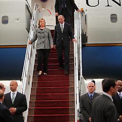 Secretary of State Hillary Rodham Clinton arrives in the United Arab Emirates on Jan. 11, 2011.