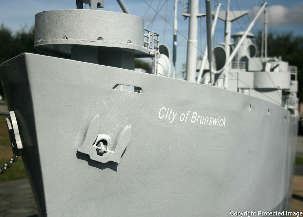 A large model of the Navy Destroyer City of Brunswick on the port commons.