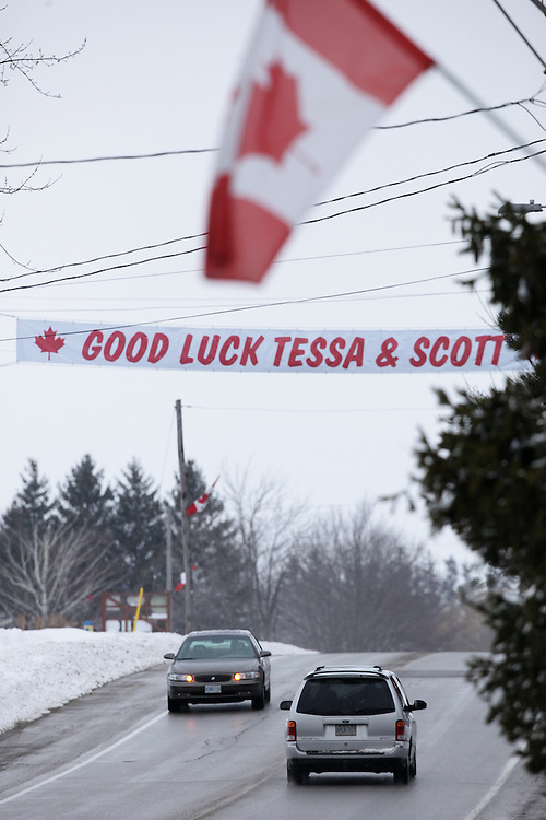 A sign at the edge of Ilderton, Ontario, hometown of Canadian ice dancer Scott Moir wishes him and partner Tessa Virtue luck at the 2010 Olympics in Vancouver February 23, 2010.  Virtue and Moir captured the gold medal in ice dance Monday evening.<br /> GEOFF ROBINS for The Globe and Mail