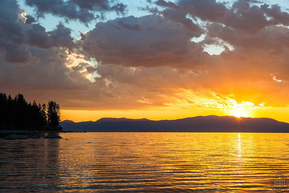 """""""Sunrise at Lake Tahoe 19"""" - Photograph of a vibrant sunrise shot from a small fishing boat during the annual Jakes on the Lake charity fishing derby."""