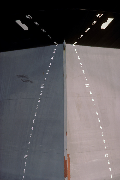 Depth marks on bow of oil tanker, Houston, Ship Channel, Texas. Picture taken for Ocean Shipholdings' capabilties brochure.