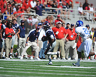 Ole Miss running back Jeff Scott (3) runs the ball at Vaught-Hemingway Stadium in Oxford, Miss. on Saturday, October 2, 2010. Ole Miss won 42-35 to improve to 3-2..