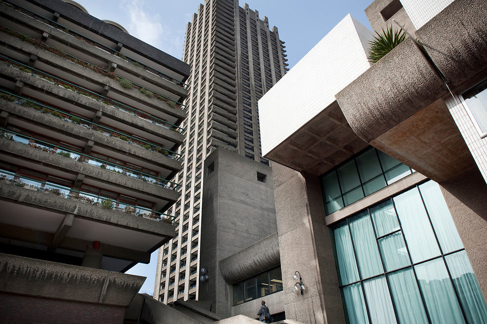 UK. London. The Barbican Centre, a collection of residential apartments, galleries, concert halls and cinemas. The Barbican Gallery is holding a Le Corbusier exhibition.<br /> Photo shows the exterior of the Barbican Centre.<br /> Photos &copy;Steve Forrest