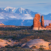 Snowcapped La Sal Mountains from Arches National Park Utah