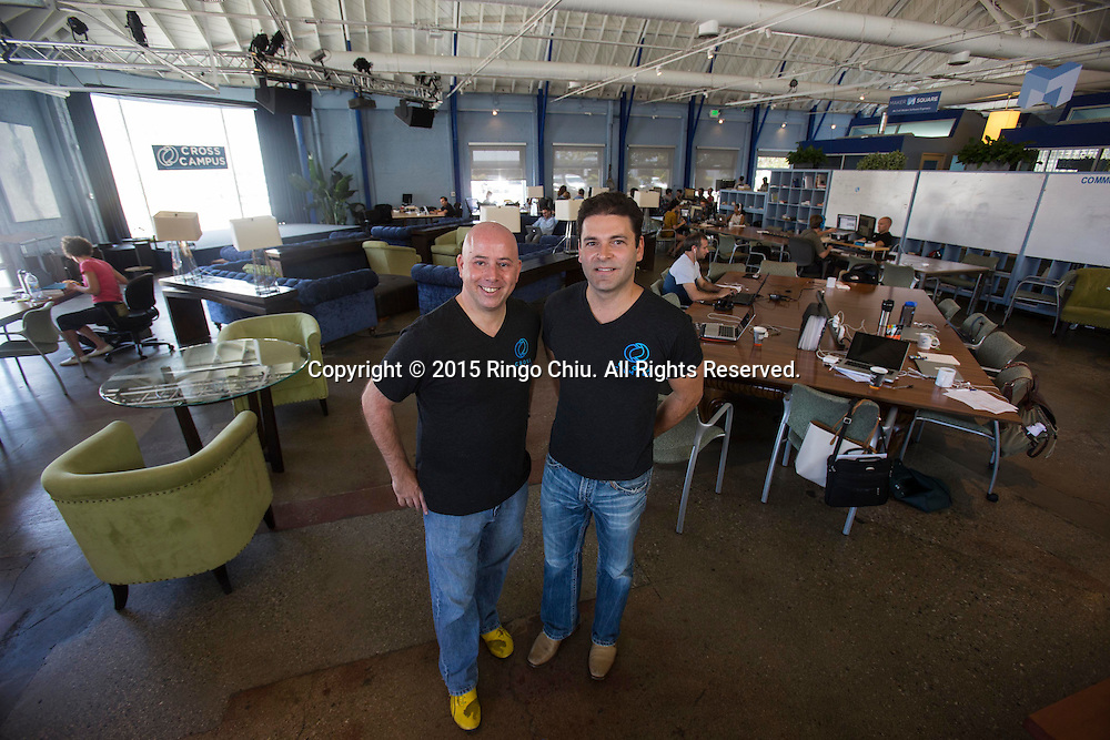 Dan Dato, left, and Ronen Olshansky, co-founders of Cross Campus in Santa Monica. <br /> Photo by Ringo Chiu/PHOTOFORMULA.com)