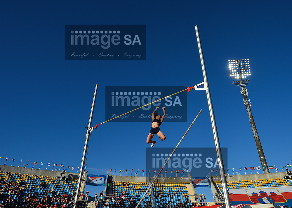 BYDGOSZCZ, POLAND - JULY 21: Alix Dehaynain of France in the women's polevault final during the evening session on day 3 of the IAAF World Junior Championships at Zawisza Stadium on July 21, 2016 in Bydgoszcz, Poland. (Photo by Roger Sedres/Gallo Images)