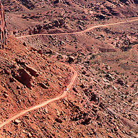 Looking down on part of the Shafer Trail in Canyonlands National Park, Utah. WATERMARKS WILL NOT APPEAR ON PRINTS OR LICENSED IMAGES.