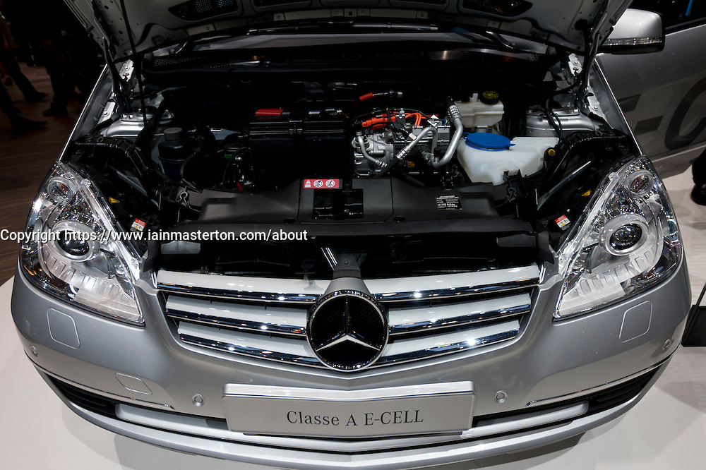 Detail of Mercedes Class E Cell electric car motor ar the Geneva Motor Show 2011 Switzerland