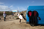 Surfer arriving to Super Tubos'  beach, Peniche, Portugal. PHOTO PAULO CUNHA/4SEE