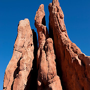 The Three Graces reach high into the sky in the Garden of the Gods in Colorado Springs, Colorado. The Three Graces are just one of many dramatic sandstone features of the park. According to geologists, the sedimentary rock was tilted by the forces that built nearby Pikes Peak and other mountains.