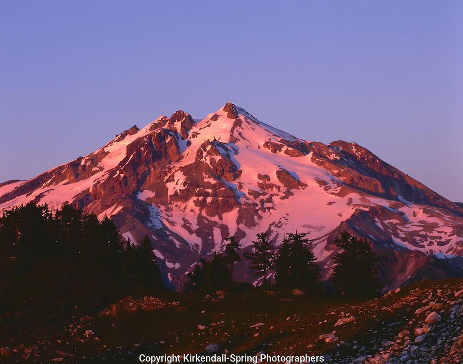 BB05547-01...WASHINGTON - Glacier Peak at sunset from Lake Byrne in the Glacier Peak Wilderness.