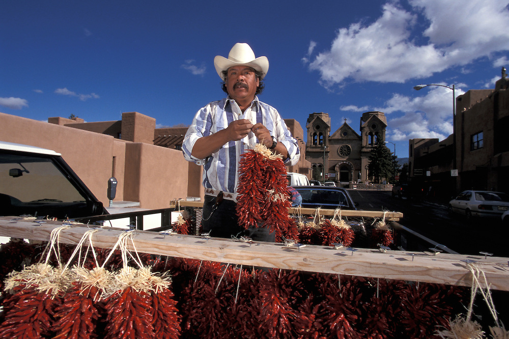 Mexican selling Chiles, Santa Fe,New Mexico,USA