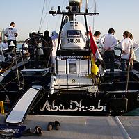 13.01.2012, Abu Dhabi. Volvo Ocean Race, , Abu Dhabi Ocean racing boat winner of the in port race