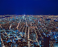 View From Twin Towers of the  Skyline of Manhattan, New York City, New York, USA