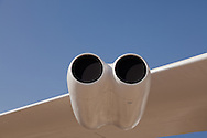 An empty double-engine nacelle on the right wing of a Boeing B-52B Stratofortress bomber on static display. WATERMARKS WILL NOT APPEAR ON PRINTS OR LICENSED IMAGES.
