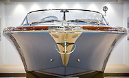 A Riva Aquariva Super in Bentley blue the London Boat Show 2016. <br /> Picture date: Friday January 8, 2016.<br /> Photograph by Christopher Ison &copy;<br /> 07544044177<br /> chris@christopherison.com<br /> www.christopherison.com