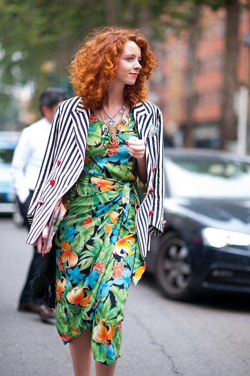 Floral Dress and Striped Blazer, Outside Dolce & Gabbana
