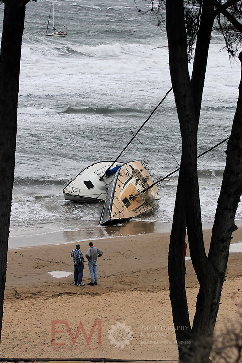 Storm damage to yachts at Mornington Yacht Club.<br /> <br /> Larger JPEG + TIFF images available by contacting use through our contact page at :..www.photography4business.com