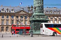 tour bus on Place Vendôme Paris France in May 2008