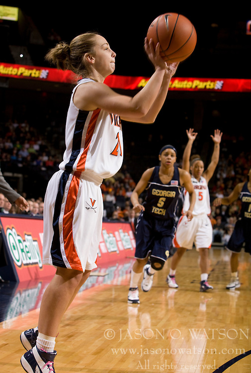 Virginia guard Tara McKnight (21) attempts a three pointer against GT.  The Virginia Cavaliers women's basketball team defeated the Georgia Tech Yellow Jackets 103-101 in double overtime at the University of Virginia's John Paul Jones Arena in Charlottesville, VA on March 2, 2008.